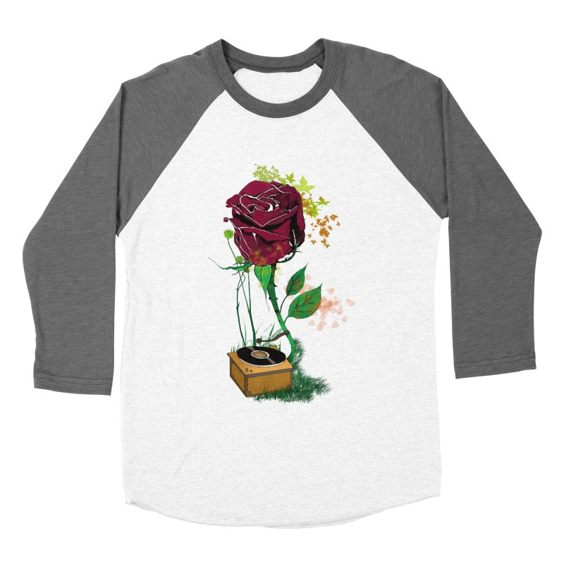 Gramophone Rose Men's Baseball Triblend T-Shirt by artichoke's Artist Shop