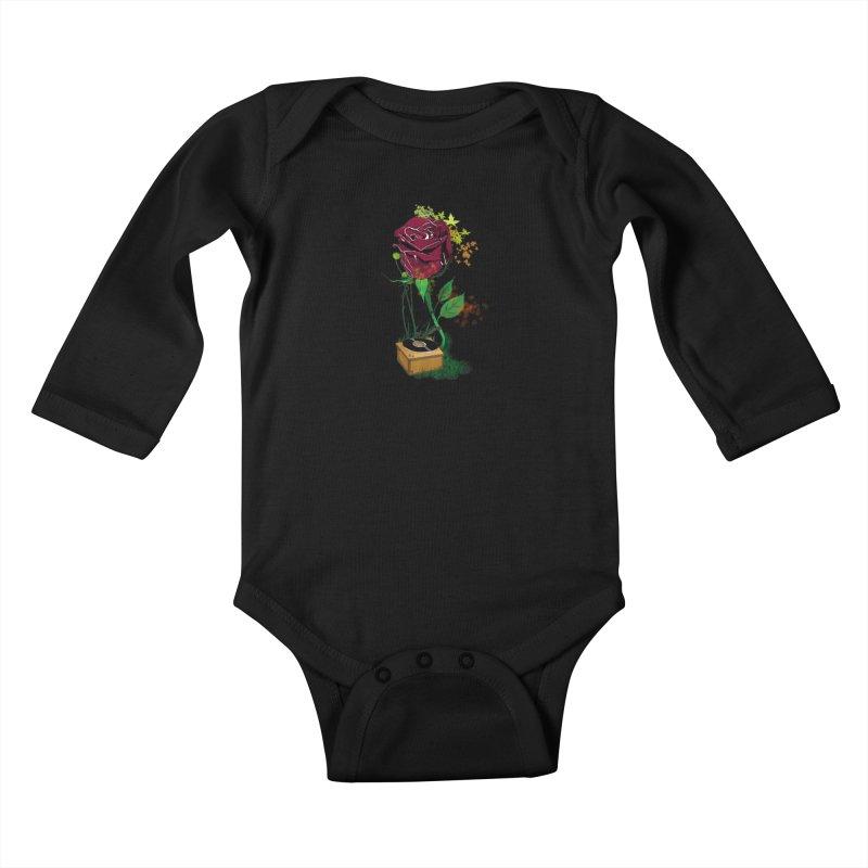 Gramophone Rose Kids Baby Longsleeve Bodysuit by artichoke's Artist Shop