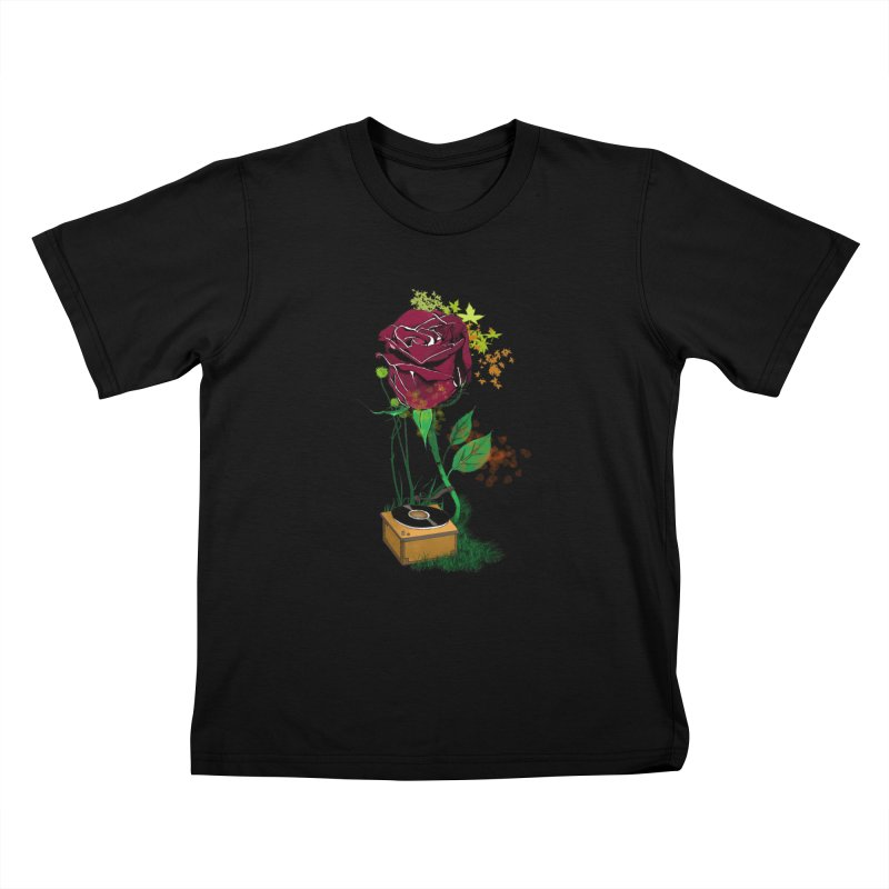 Gramophone Rose Kids T-Shirt by artichoke's Artist Shop