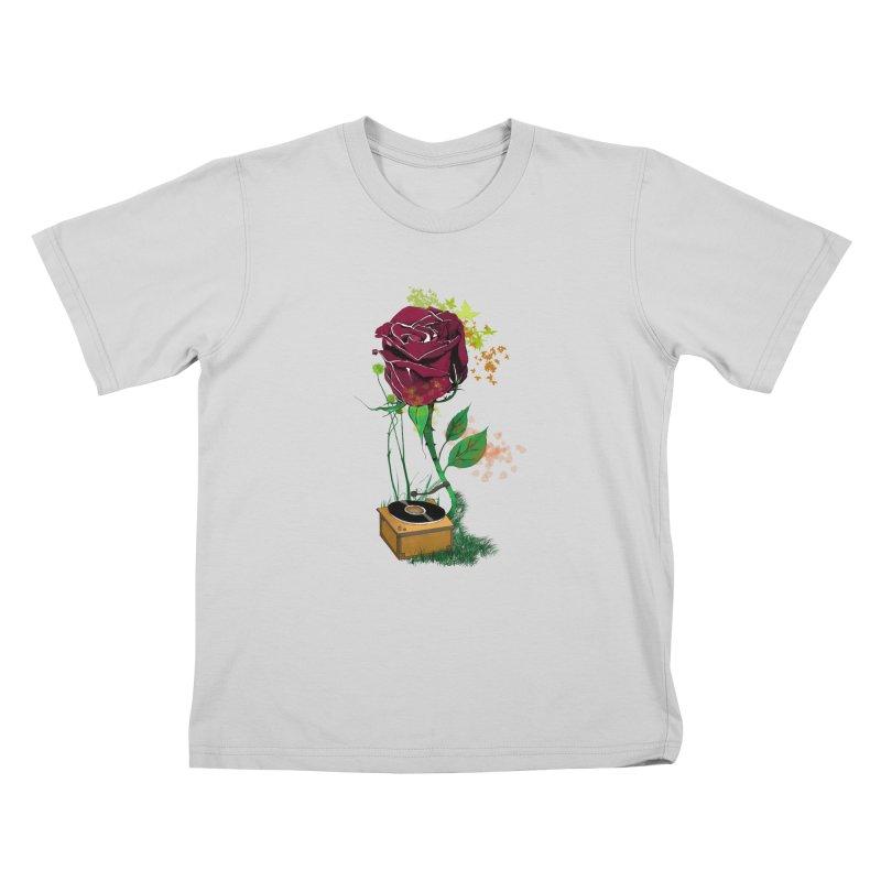 Gramophone Rose Kids T-Shirt by artichoke's Artist Shop