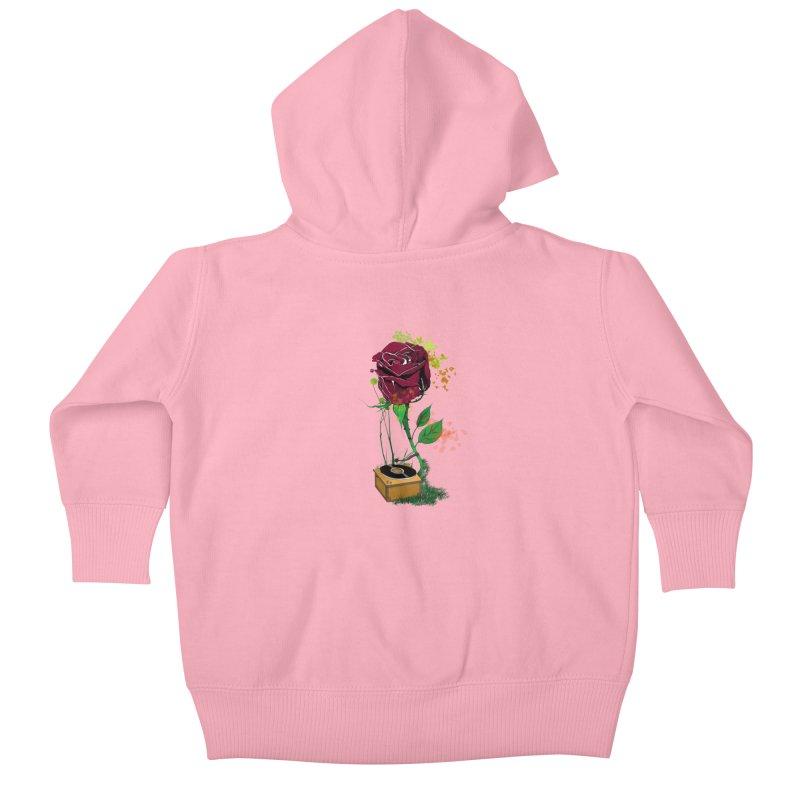 Gramophone Rose Kids Baby Zip-Up Hoody by artichoke's Artist Shop