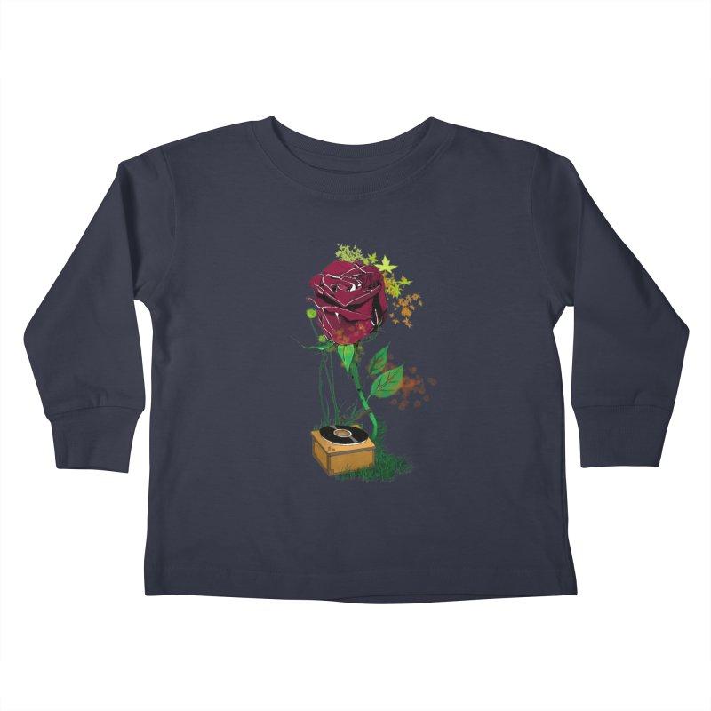 Gramophone Rose Kids Toddler Longsleeve T-Shirt by artichoke's Artist Shop