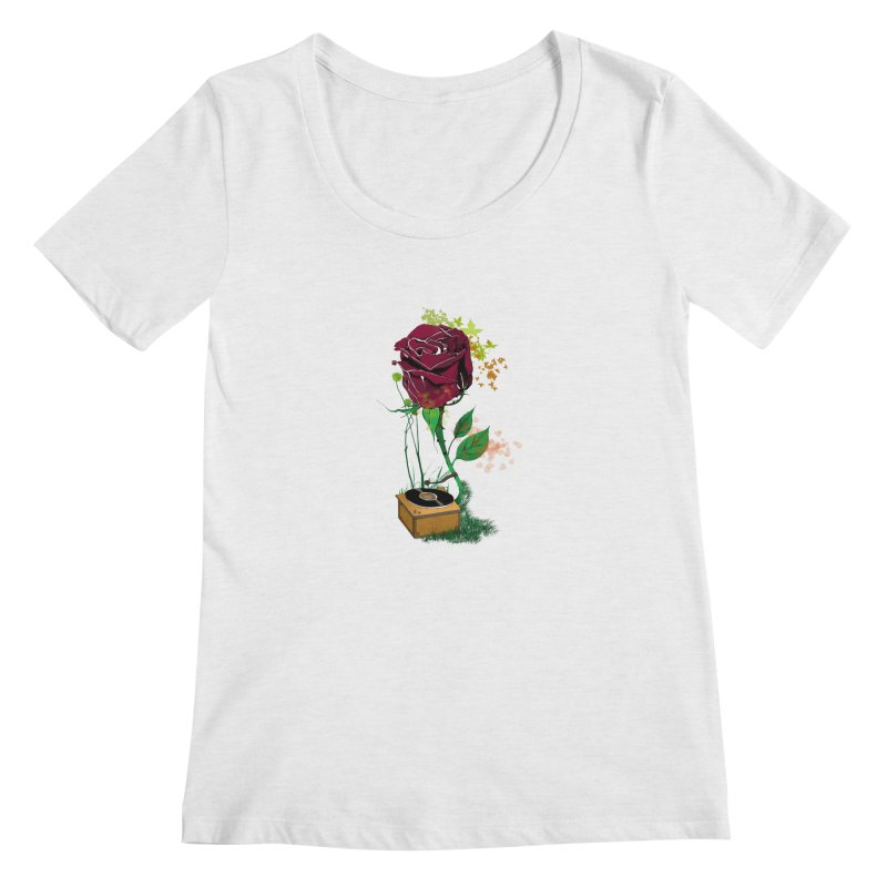 Gramophone Rose Women's Regular Scoop Neck by artichoke's Artist Shop