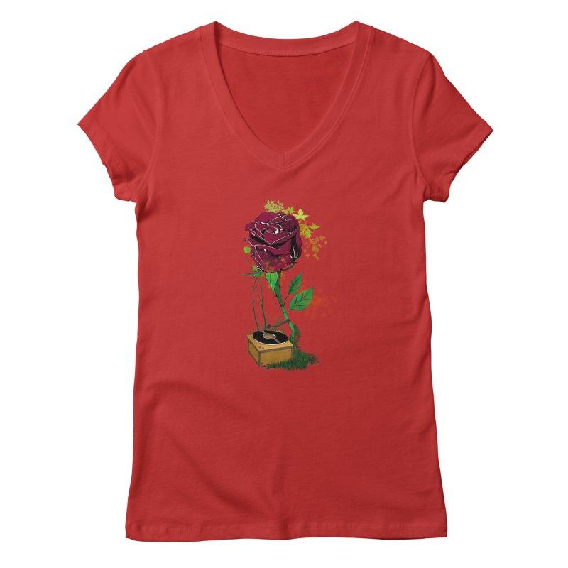 Gramophone Rose Women's V-Neck by artichoke's Artist Shop