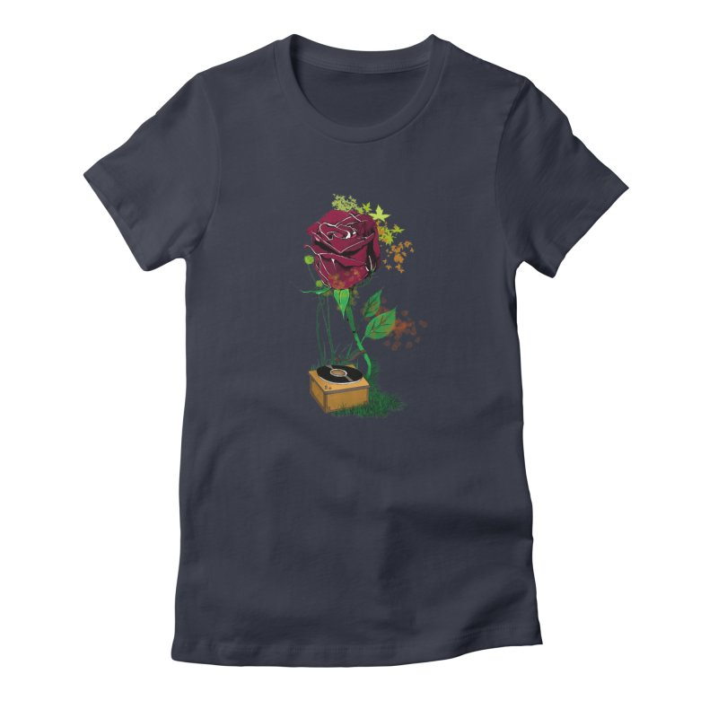 Gramophone Rose Women's Fitted T-Shirt by artichoke's Artist Shop