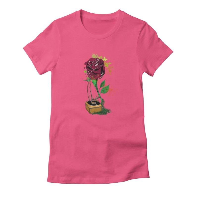 Gramophone Rose Women's Fitted T-Shirt by artichoke's Artist Shop