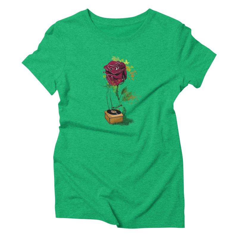 Gramophone Rose Women's Triblend T-Shirt by artichoke's Artist Shop