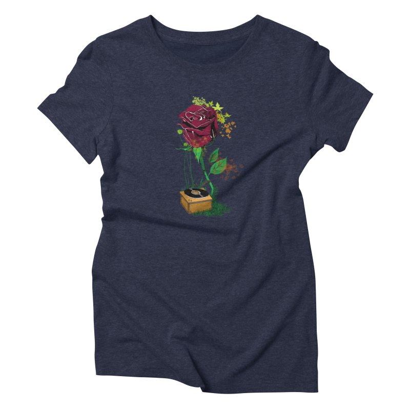 Gramophone Rose Women's Triblend T-shirt by artichoke's Artist Shop