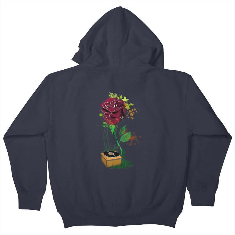 Gramophone Rose Kids Zip-Up Hoody by artichoke's Artist Shop