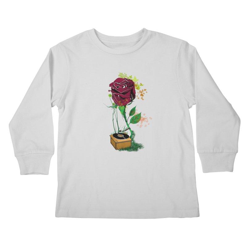 Gramophone Rose Kids Longsleeve T-Shirt by artichoke's Artist Shop