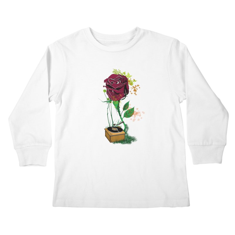 Gramophone Rose Kids Longsleeve T-Shirt by artichoke's Artist Shop