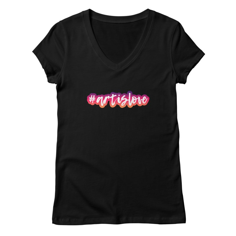 Purple & Pink #artislove logo Women's V-Neck by Art is Love Artist Shop