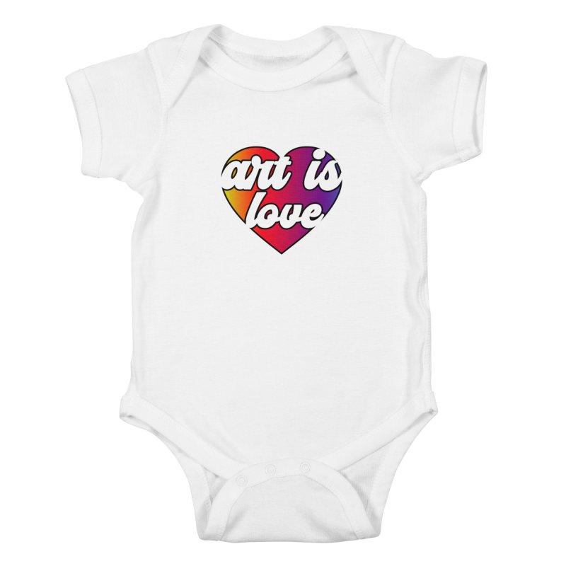 Art is Love Rainbow Heart Kids Baby Bodysuit by Art is Love Artist Shop