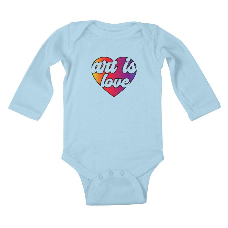 Art is Love Rainbow Heart Kids Baby Longsleeve Bodysuit by Art is Love Artist Shop