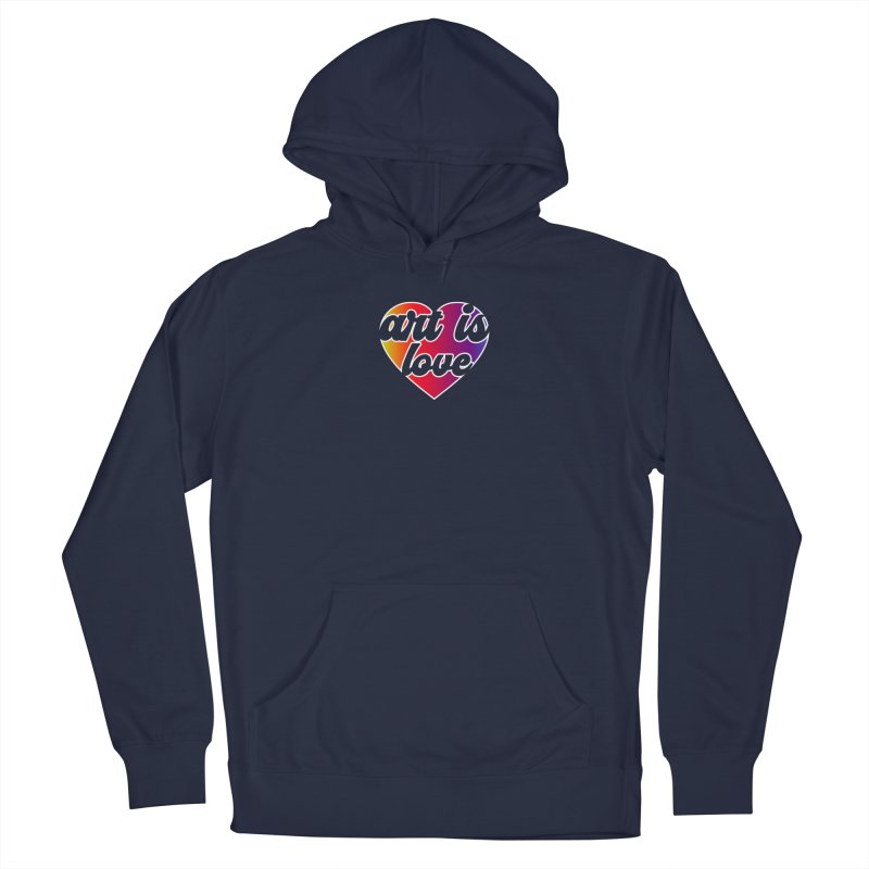 Art Is Love Rainbow Heart Logo with White Outline Men's Pullover Hoody by Art is Love Artist Shop