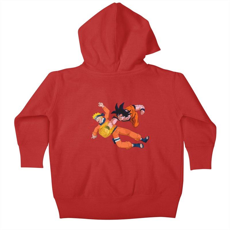 Gokuh vs Naruto Kids Baby Zip-Up Hoody by artist's Artist Shop