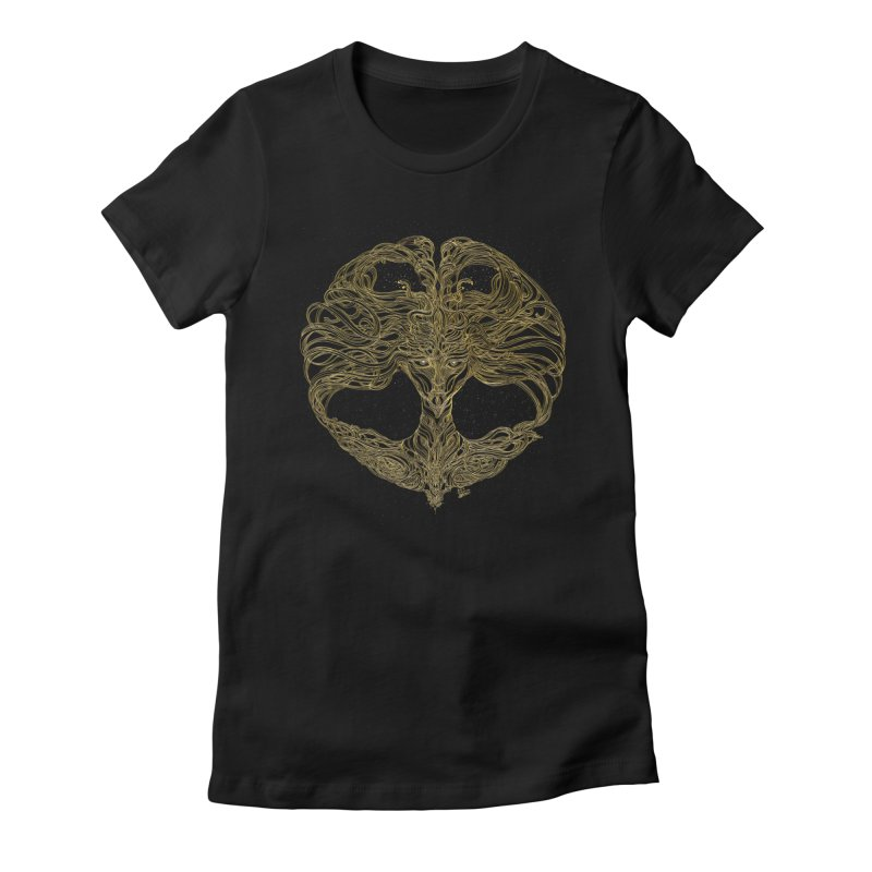 Cosmic Medusa Women's Fitted T-Shirt by artistsjourney's Artist Shop