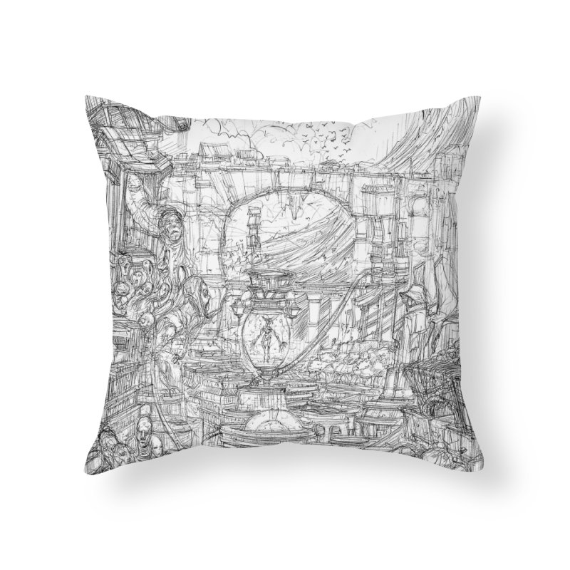 Enter The New Void || Pareidolia Drawing Home Throw Pillow by artistsjourney's Artist Shop