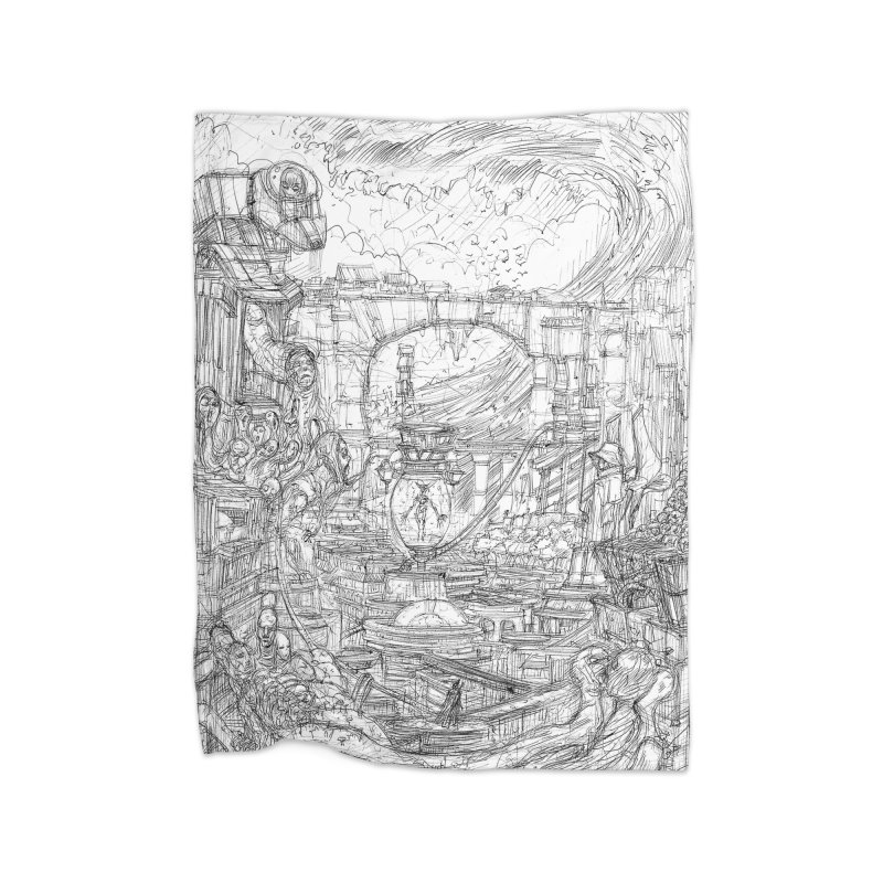 Enter The New Void || Pareidolia Drawing Home Fleece Blanket Blanket by artistsjourney's Artist Shop