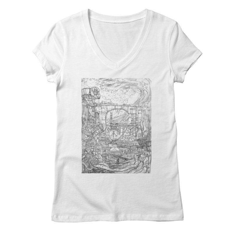 Enter The New Void || Pareidolia Drawing Women's Regular V-Neck by artistsjourney's Artist Shop