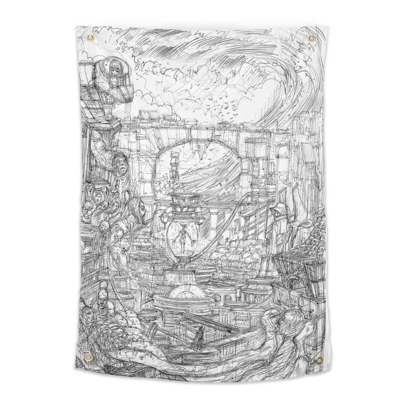 Enter The New Void || Pareidolia Drawing Home Tapestry by artistsjourney's Artist Shop