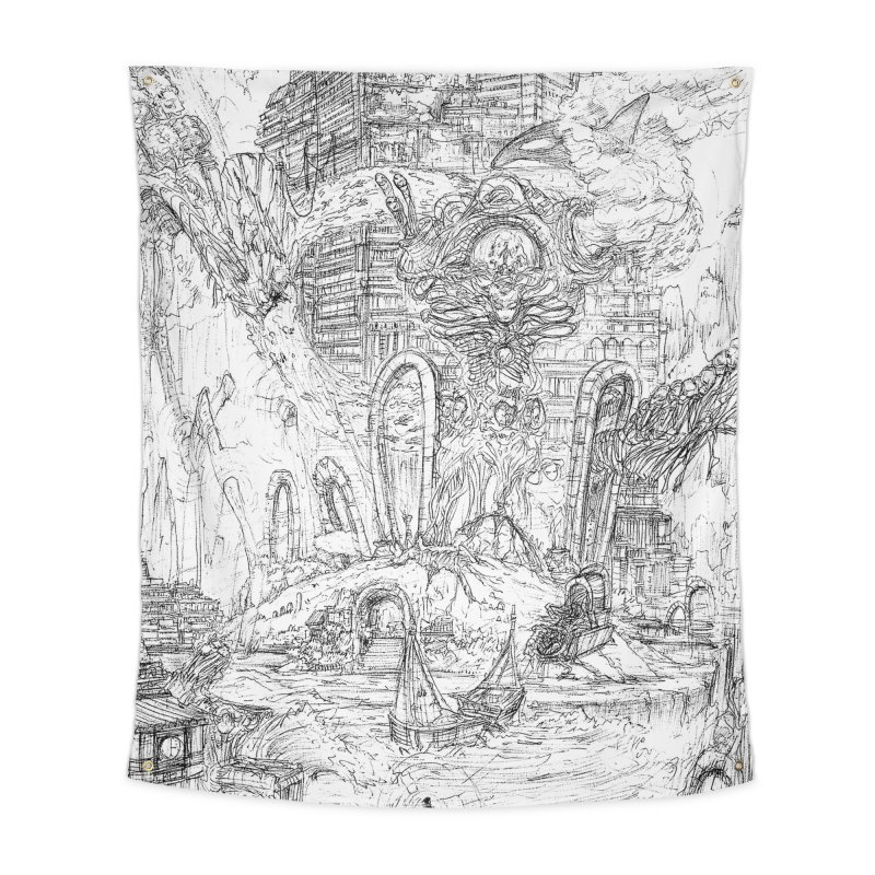 Portals of the Dreamscape || Pareidolia Drawing Home Tapestry by artistsjourney's Artist Shop