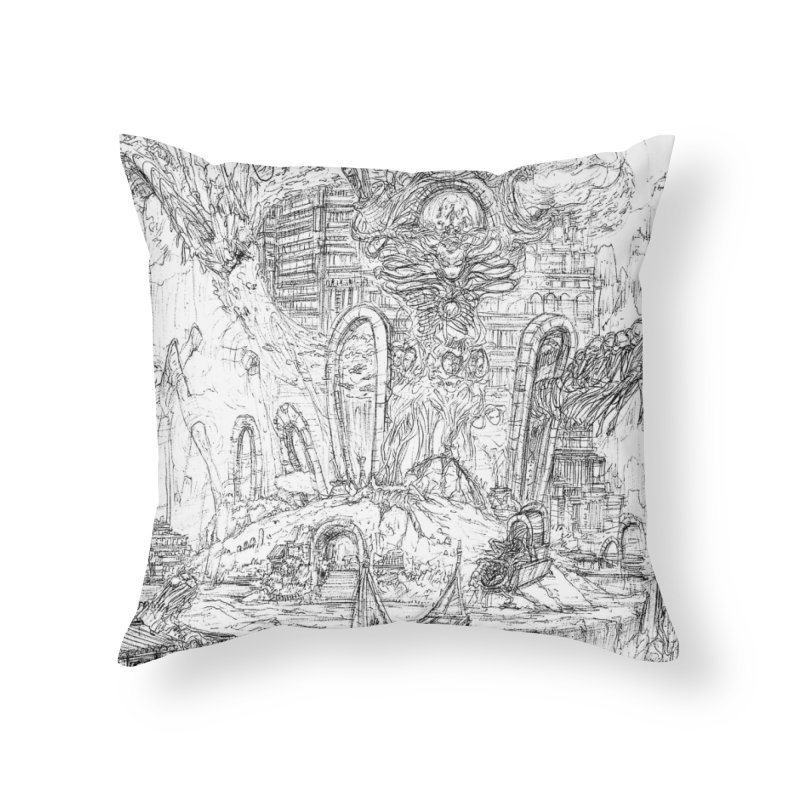 Portals of the Dreamscape || Pareidolia Drawing Home Throw Pillow by artistsjourney's Artist Shop