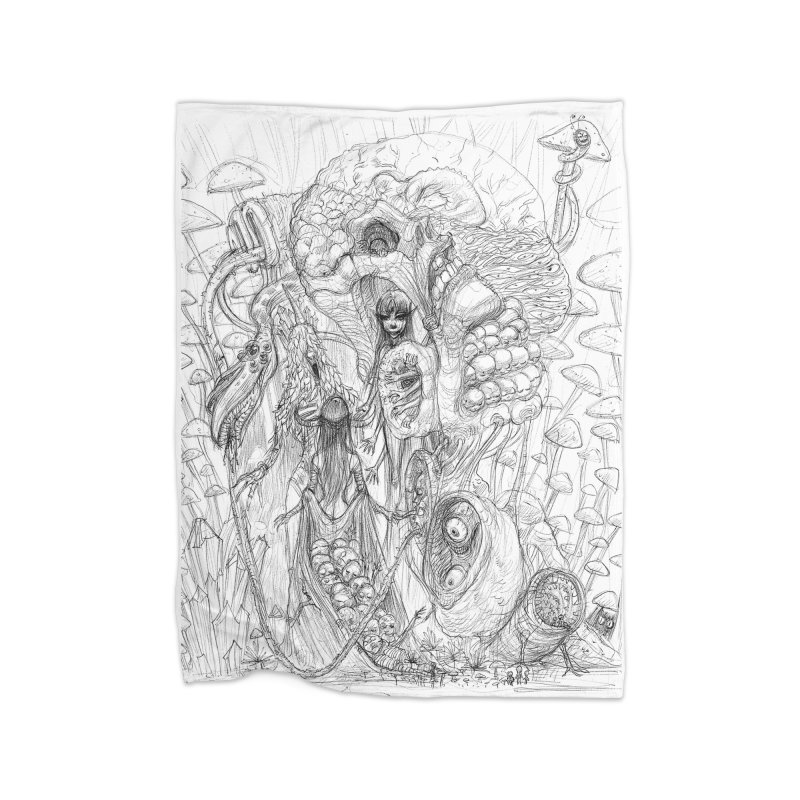 Ethereal Fatalities || Pareidolia Drawing Home Fleece Blanket Blanket by artistsjourney's Artist Shop