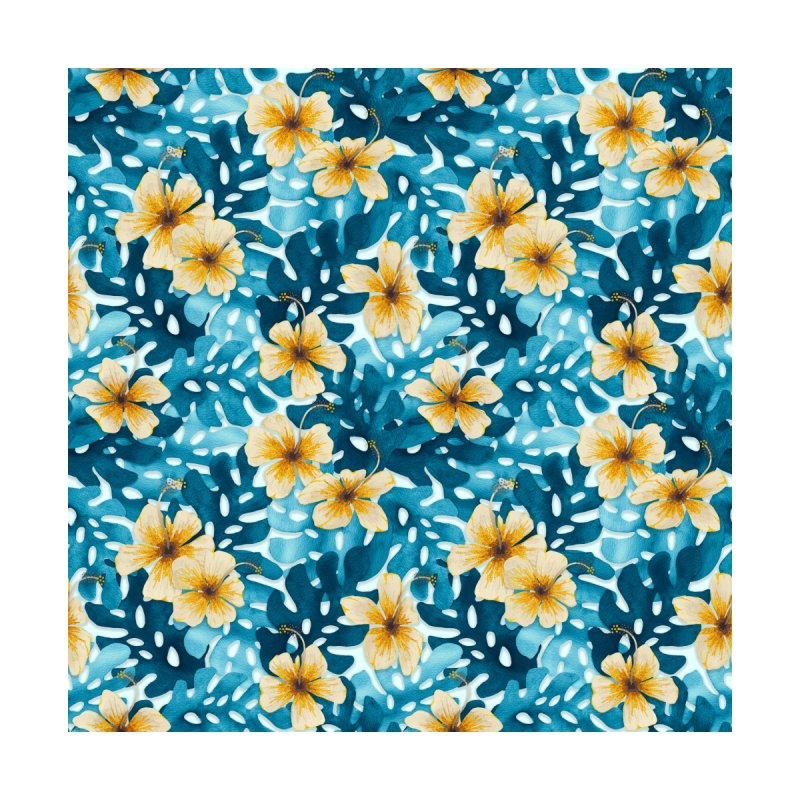 Tropical Hibiscus Pattern White by Art Love Passion