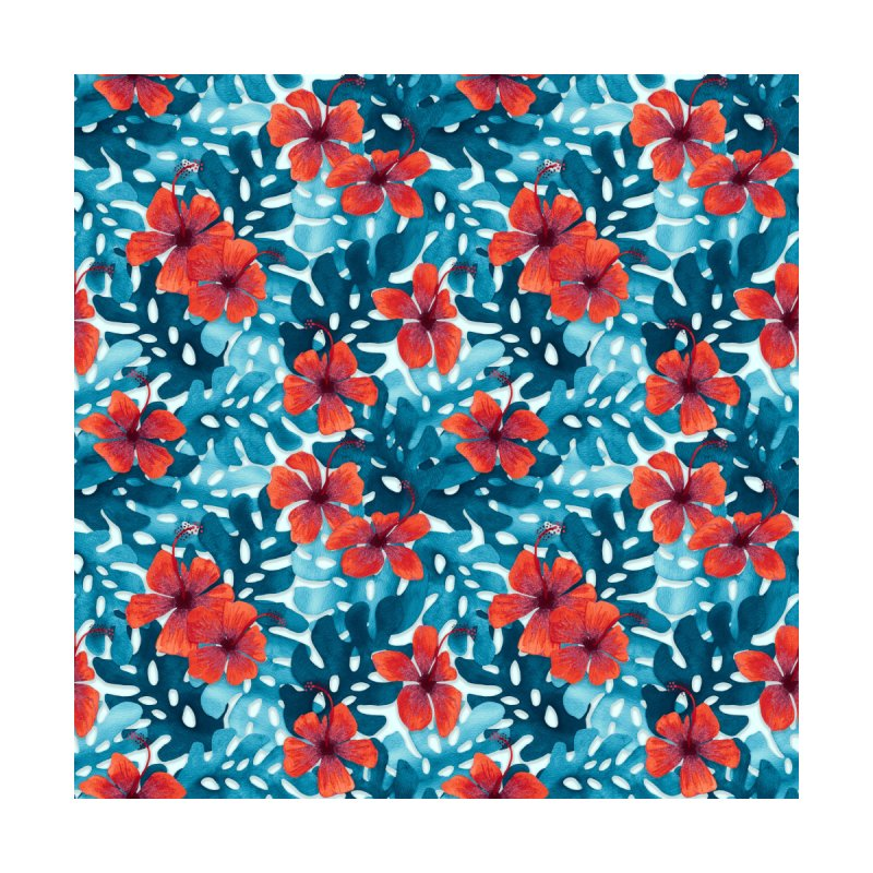 Tropical Hibiscus Pattern Red by Art Love Passion