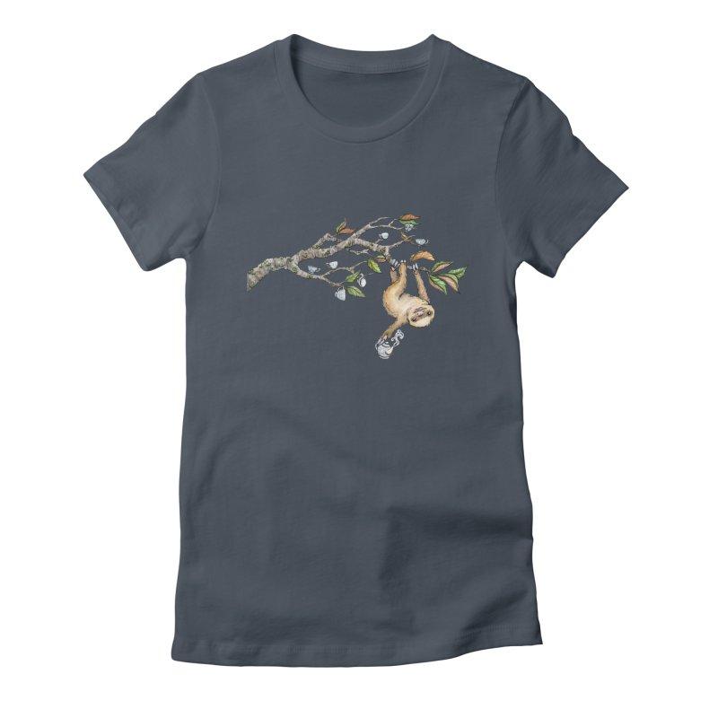 Slow Tea in Women's Fitted T-Shirt Denim by artofchristy's Artist Shop