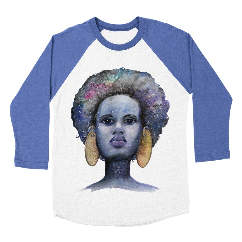 She is Made of Stars in Women's Baseball Triblend Longsleeve T-Shirt Tri-Blue Sleeves by artofchristy's Artist Shop