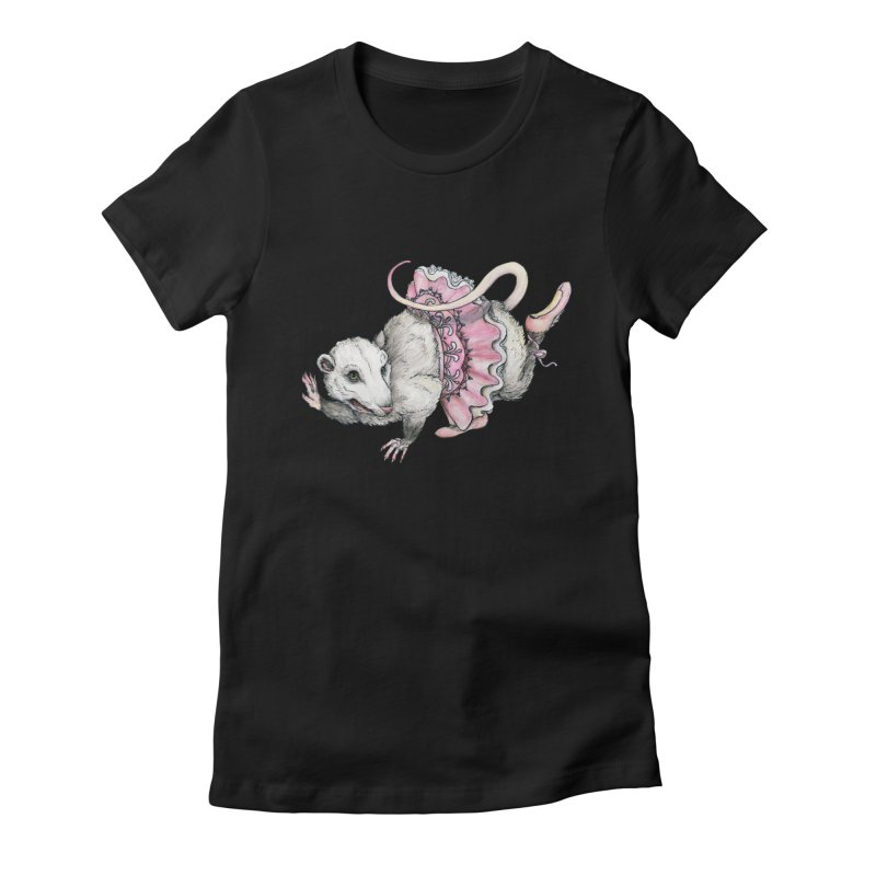 'Possum en Pointe in Women's Fitted T-Shirt Black by artofchristy's Artist Shop