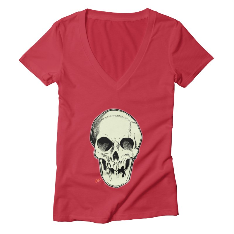 PIRATE SKULL Women's Deep V-Neck V-Neck by The Art of Coop