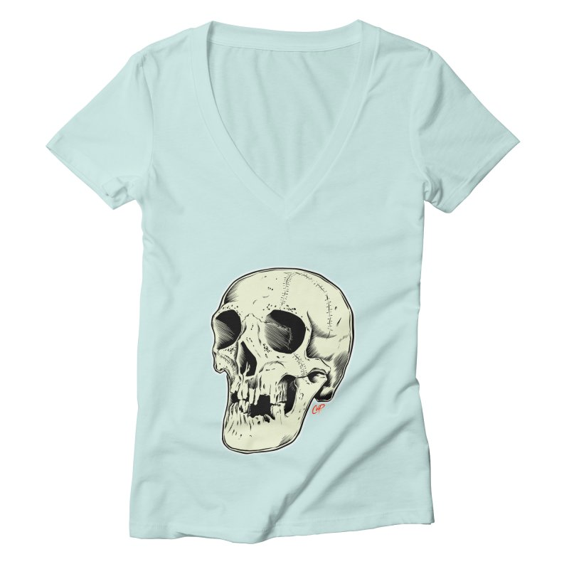 HAUNTED SKULL Women's Deep V-Neck V-Neck by The Art of Coop