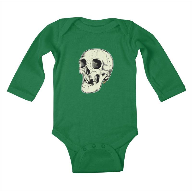HAUNTED SKULL Kids Baby Longsleeve Bodysuit by The Art of Coop