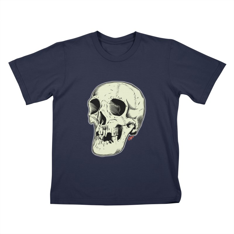 HAUNTED SKULL Kids T-Shirt by The Art of Coop