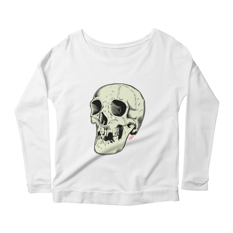 HAUNTED SKULL Women's Scoop Neck Longsleeve T-Shirt by The Art of Coop