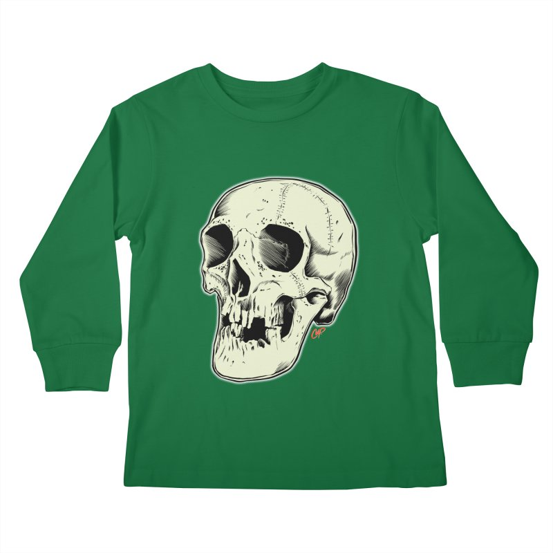 HAUNTED SKULL Kids Longsleeve T-Shirt by The Art of Coop