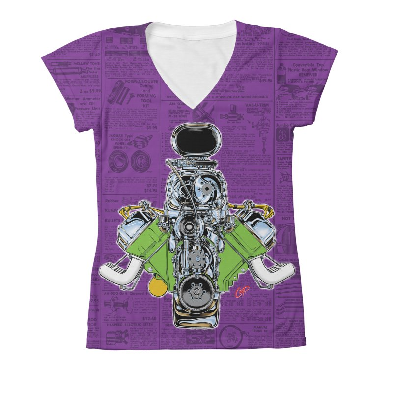 GIMME HEMI Women's V-Neck All Over Print by The Art of Coop