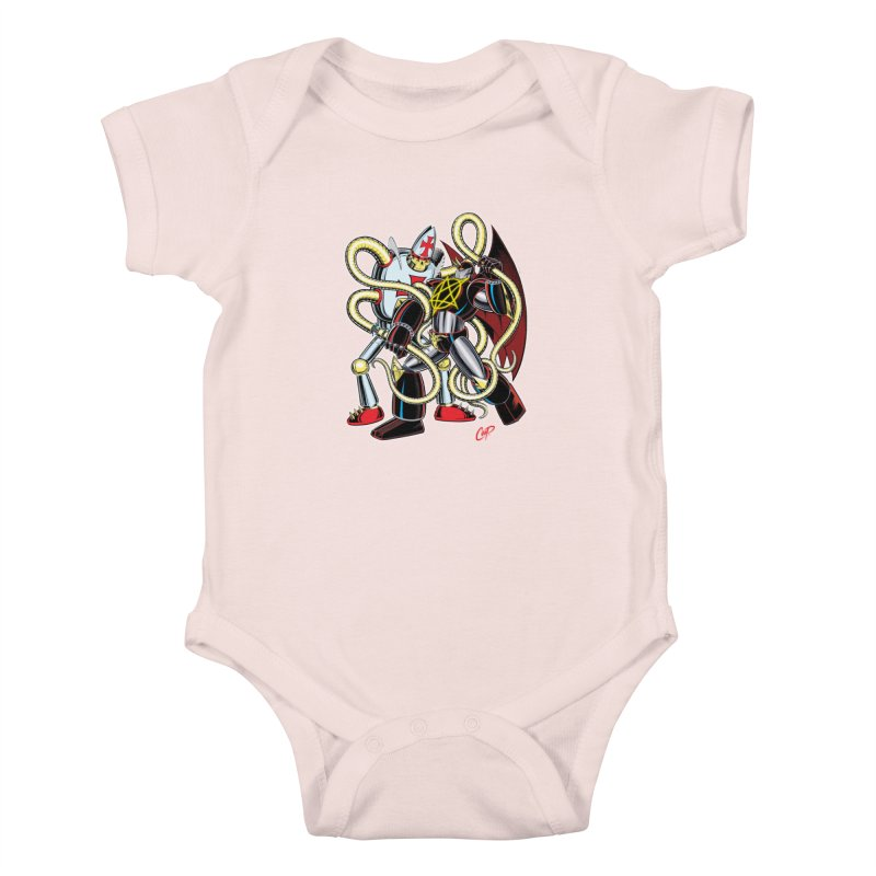 MEGA THERION VS. PIOUSBOT 9000 Kids Baby Bodysuit by artofcoop's Artist Shop