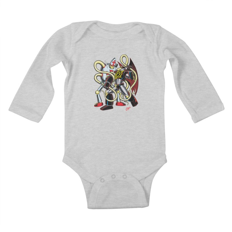 MEGA THERION VS. PIOUSBOT 9000 Kids Baby Longsleeve Bodysuit by artofcoop's Artist Shop