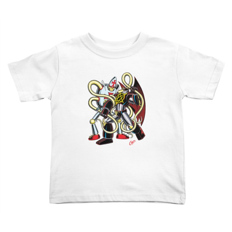 MEGA THERION VS. PIOUSBOT 9000 Kids Toddler T-Shirt by artofcoop's Artist Shop