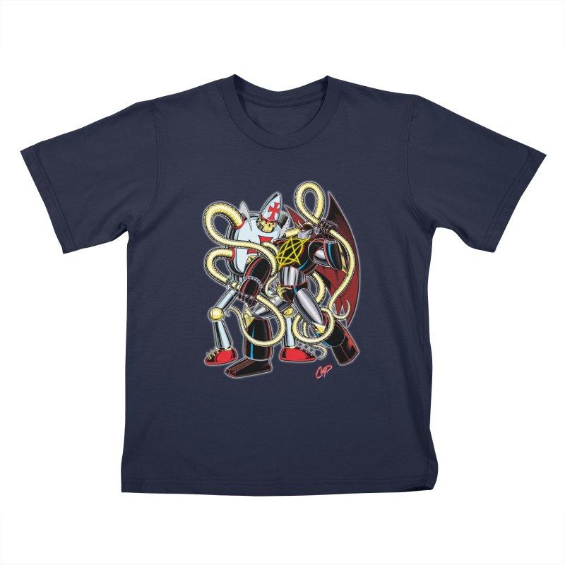 MEGA THERION VS. PIOUSBOT 9000 Kids Toddler T-Shirt by artofcoop's Artist Shop
