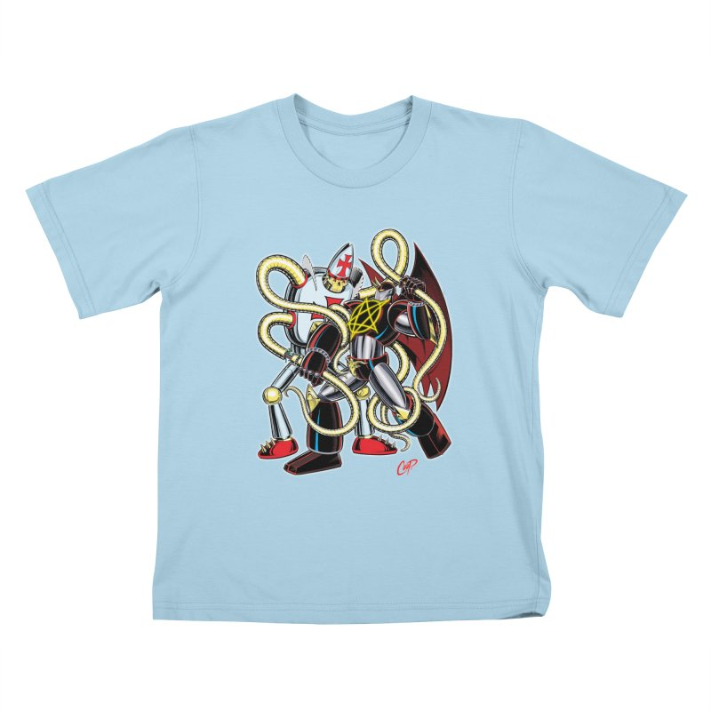 MEGA THERION VS. PIOUSBOT 9000 Kids T-Shirt by artofcoop's Artist Shop