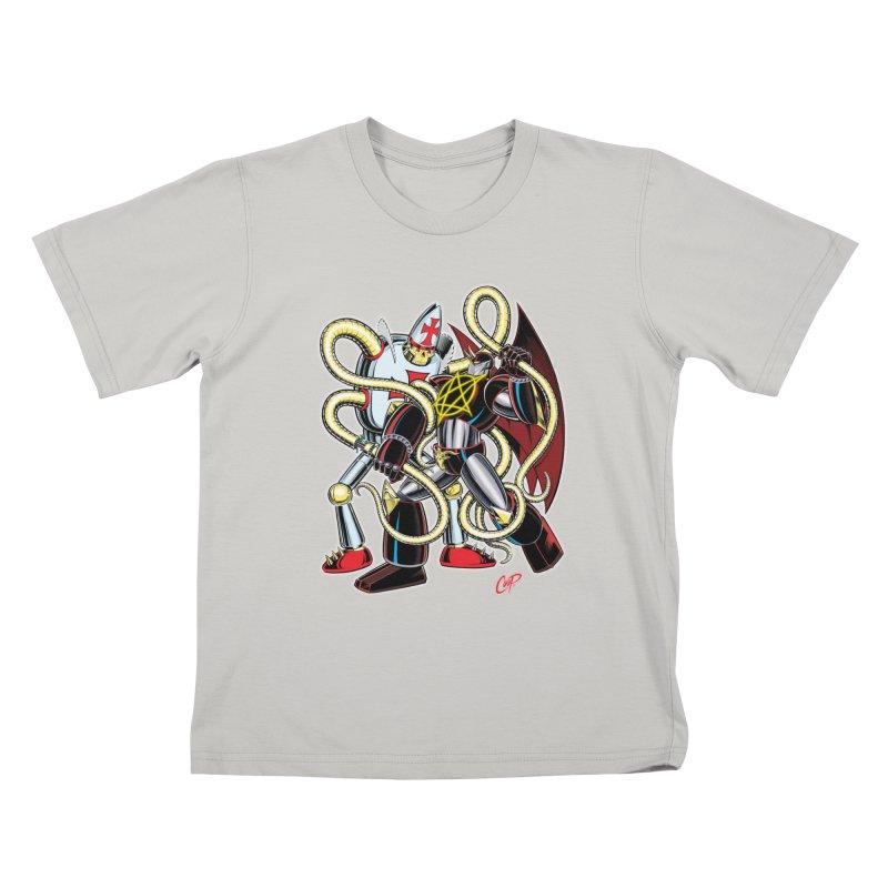 MEGA THERION VS. PIOUSBOT 9000 Kids T-shirt by artofcoop's Artist Shop