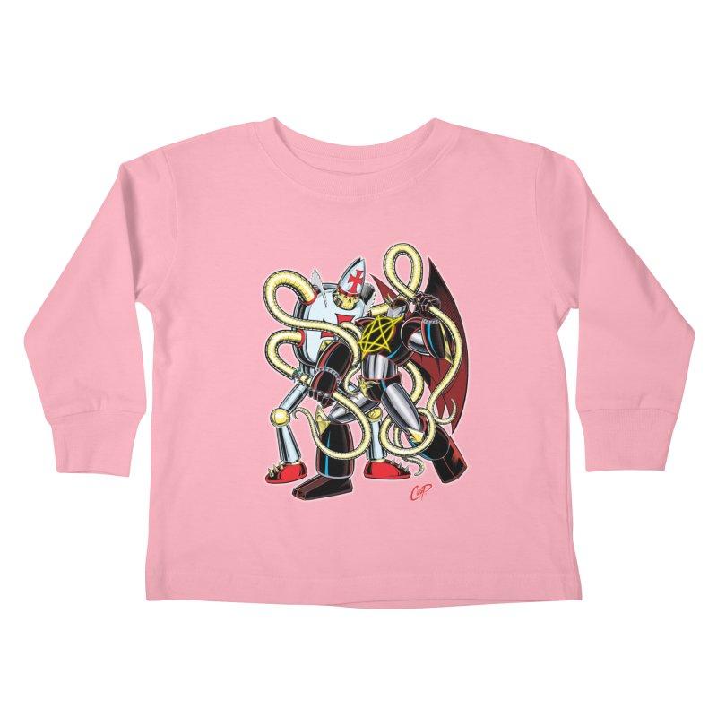 MEGA THERION VS. PIOUSBOT 9000 Kids Toddler Longsleeve T-Shirt by artofcoop's Artist Shop