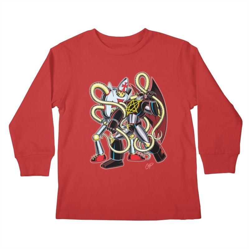MEGA THERION VS. PIOUSBOT 9000 Kids Longsleeve T-Shirt by artofcoop's Artist Shop