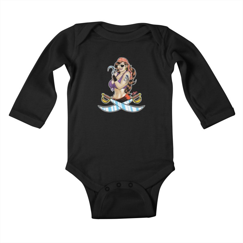 DRAW THE PIRATE Kids Baby Longsleeve Bodysuit by artofcoop's Artist Shop