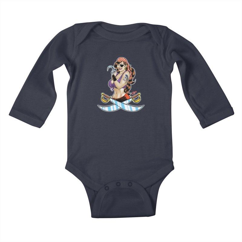 DRAW THE PIRATE Kids Baby Longsleeve Bodysuit by artofcoop's Artist Shop